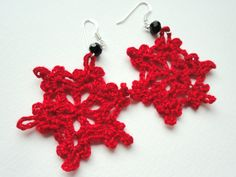 Handmade Jewelry, unique gift , red crochet earrings, cotton star earring by ViktoriaCrochet on Etsy