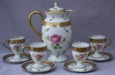 Antique Royal Bayreuth Roses Gold Blue Mark Teapot Cups Saucers Teaset Vintage