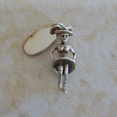 Saloon Can Can Girl Dancer Boot Hill Dodge City Kansas Sterling Silver Charm #Unbranded