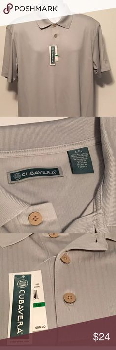 Cubavera Knit Golf Shirt Large Superb Quality NWT A very nice Men's Large CUBAVERA Knit Golf Shirt With An Awesome Smooth Feel And Silvery Moon Color. A very comfortable golf shirt, the feel and softness is comparable to any high end shirt. Cubavera Shirts Polos