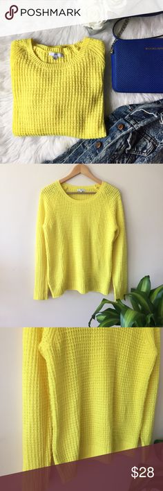 GAP• Vibrant Yellow Open Knit Top GAP Yellow Open Knit Sweater. This lightweight open knit top is perfect for transitioning into Spring and is sure to make a statement. Pair with royal blue heels and leather leggings! No flaws, this is in pristine condition!  Size M. Length: 26 inches Bust: 20 inches GAP Tops