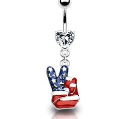 American Flag Peace Sign Belly Ring Dangle Nemesis Body Jewelry, #bellyring #piercing $8.99 (http://www.nemesisbodyjewelry.com/american-flag-peace-sign-belly-button-ring-dangle/)