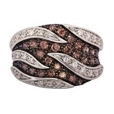 Stunning Sterling Silver Dress Ring with Rich Mahogany and Sparkling White Cubic Zirconias Seasonal Color Analysis, Dress Rings, Silver Dress, Season Colors, Girls Best Friend, Strands, Sterling Silver Rings, Natural Beauty, Jewelery