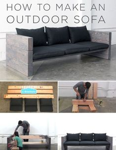 HomeMade Modern DIY Outdoor Sofa: 12 Steps (with Pictures) Diy Sofa, Diy Furniture Couch, Pallet Furniture, Diy Patio Furniture Cheap, Solid Wood Furniture, Furniture Ideas, Rustic Outdoor Furniture, Outdoor Couch, Outdoor Decor