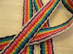 Handwoven Inkle Belt  Cotton  Rainbow Pattern  by StringGeekCrafts  Rainbows!