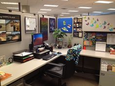 Feng shui is a type of design that maximizes the uplifting energy of design. Notice that this cubicle has life (butterflies), nature, spectrum colors and motivating quotes. Ideally the back of the chair should NEVER face an entrance, but that can't be helped in a cubicle setting.