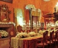 Private Residence Formal Dining Room Wedding Reception Java Indonesia - candles, centerpiece, chandelier, dining, entertaining, flowers, house, hydrangeas, low centerpieces, reception, roses, table setting, wedding, color|brown, color|gold, color|orange, color|red, color|white, color|yellow