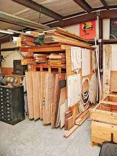 Whether Tom Clark is assembling cabinets in his workshop or gazing at the stars through a telescope that he built, it?s always a question of space.You are in the right place about portable Lumber Storage Here we offer yo Workshop Layout, Workshop Storage, Workshop Organization, Wood Workshop, Workshop Ideas, Lumber Storage Rack, Lumber Rack, Wood Storage, Woodworking Shop Layout