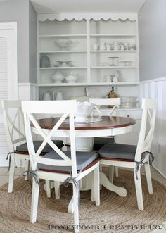 cottage dining table and built in hutch