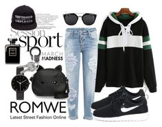 """""""Romwe Contest"""" by fashion-rebel-chic ❤ liked on Polyvore featuring Dsquared2, NIKE, Loungefly and I Love Ugly"""