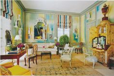 Ladies' lounge, decorated by Miles Redd and located at a Houston house,  (Architectural Digest, Thomas Loof photographer.)