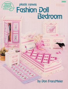 Fashion Doll Plastic Canvas Bedroom Furniture Pattern Leaflet for Barbie 3060 Vintage. $24.95, via Etsy.
