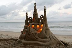 Sand castle with candles
