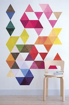 Mid Century Modern Danish Multi Colored Triangles by Wall-Decals on DaWanda.com...