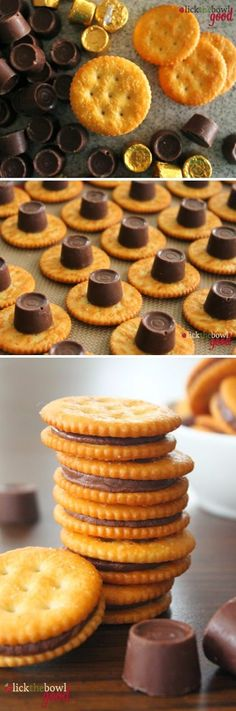Rolo Stuffed Ritz Crackers dip them in white chocolate and you have one awesome treat!!