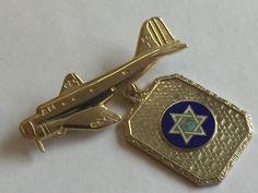 Genuine Vintage WWII Enamel Jewish Sweetheart Pin 1940s US Air Force / Air Corps Patriotic Vintage Jewelry, Military Brooch, Enamel 1940's