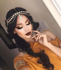 Arabic Make up Arabic Bridal Party Wear Makeup Tutorial Step by Step Tips & Ideas 2018 Gypsy Makeup, Beauty Makeup, Hair Makeup, Hair Beauty, Eye Makeup, Maquillaje Halloween, Halloween Makeup, Princess Jasmine Costume, Princess Jasmine Makeup