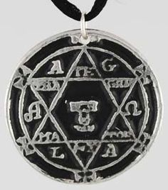 "This amulet is inscribed with a magical seal that is intended to invite in and bind spirits obedient to the wearer. Hanging approximately 1 1/8"" in diameter this pewter amulet comes on a black satin cord. $7.95"