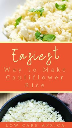 The easiest way to make cauliflower rice! The easiest way to make cauliflower rice! Low Carb Side Dishes, Side Dish Recipes, Low Carb Recipes, Dinner Recipes, Paleo Recipes, Easy Recipes, Easy Meals, How To Cook Cauliflower, Cauliflower Recipes