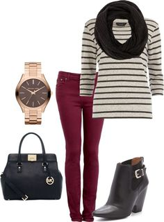 Wine colored pants, black and white striped shirt, black booties