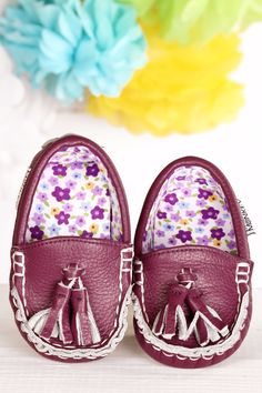Plum Blossom ~ Genuine Leather & Fabric Little Monkey Moccasins – Funky Monkey Fashion Accessories