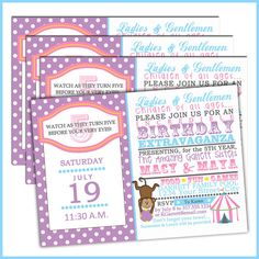 Carnival Birthday Invitations for Girls 161  by LullabyLoo on Etsy, $18.00