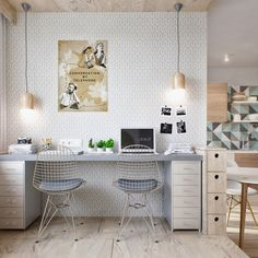 Find the best idea to create a home office for two. Sharing a home office sounds like a good idea at first glance. It saves in the works wealth of sky and on the other hand of having to create two different rooms.