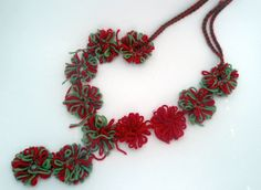 Handmade necklace flower long necklace crochet red by CRAZYBOOM,