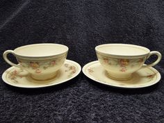 Homer Laughlin Eggshell Georgian Countess Tea Cup and Saucer Set TWO EXCELLENT! #HomerLaughlin