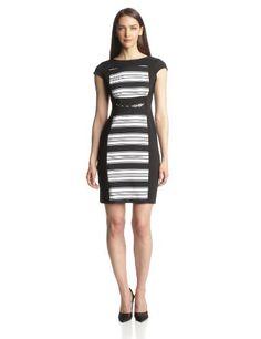 Gabby Skye Women's Cap Sleeve Twill Dress with Buckle Detail, Black/White, 4 Gabby Skye,http://www.amazon.com/dp/B00GFVNAXC/ref=cm_sw_r_pi_dp_a9Eitb0WD82C6SY2
