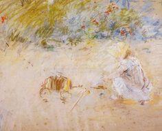 Enfant jouant dans le jardin, pastel de Berthe Morisot (1841-1895, France)