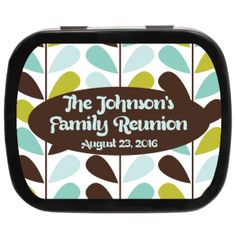Retro Leaves Personalized Reunion Mint Tins, candy favor mint tin for family reunions, cookouts, reunions, or parties! #leaves #autumn