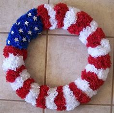 Memorial Day/ Veterans Day/ Fourth Of July Wreath... Or just proud to be an American ....$12 and about an hour.... Flowers from dollar tree, then snip close to the bottom of the he flower, and use glue gun to put onto a wreath of your choosing.