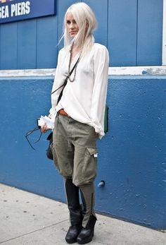 olive jodhpur pants with loose white shirt