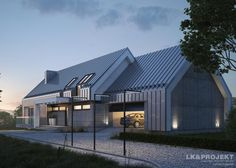 Traditional home by Architecture firm: LK & Projekt Modern Family House, Modern Barn House, Modern House Plans, Modern House Design, Bungalow Exterior, Modern Farmhouse Exterior, Weekend House, Gate House, Residential Architecture
