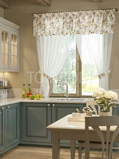 Kitchen models: 60 ideas for all styles - Home Fashion Trend Vintage Kitchen Curtains, Kitchen Window Curtains, Kitchen Wood Design, Home Decor Kitchen, Blue Kitchen Tables, Ikea Kitchen Countertops, Country Kitchen Lighting, Kitchen Models, Curtain Designs