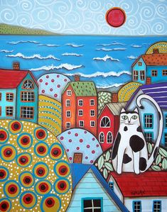 Trademark Global Karla Gerard 'Seaside Cat' Canvas Art - 47 x 35 x 2 Karla Gerard, Art Fantaisiste, Wal Art, Oil Pastel Art, Naive Art, Whimsical Art, Rug Hooking, Canvas Artwork, Painting & Drawing