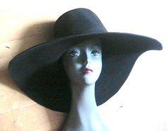 FRENCH 1970s BLACK FLOPPY CAPELINE HAT - WIDE BRIM - VELVET WOOL FELT -NEW- L/XL #WideBrim6inches