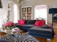zebra rug, gray and pink, lucite coffee table, white bookcases