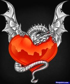 Wolf and Dragon Heart | how to draw a dragon heart, dragon and heart