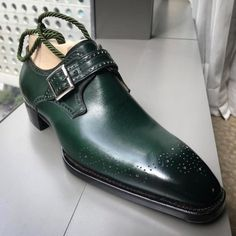 Novecento Line Cannes Buckle on Perfetta last, green French calf with medallion and perforations on the sides Handmade Leather Shoes, Suede Leather Shoes, Mens Shoes Boots, Shoe Boots, Men Dress, Dress Shoes, Simple Shoes, High Ankle Boots, Monk Strap Shoes