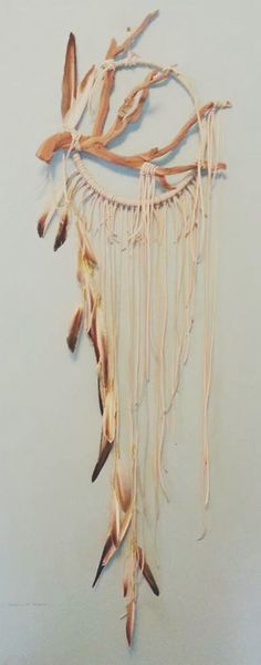 Sparrow  Modern White Driftwood Dreamcatcher  by BartonHollow boho dream catcher branch native decor southwestern decor