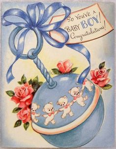 #27 50s Dancing Bears on the Baby Rattle, Vintage Greeting Card Sweet cards that beat what you buy today!