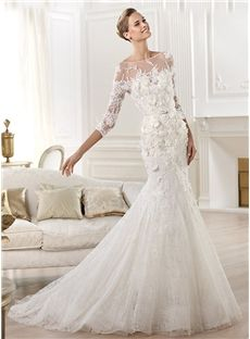 Luxurious Mermaid Trumpet Floor Length Court Train 3 4 Sleeves Lace Appliques Wedding Dress
