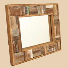 reclaimed wood mirror $70  Think this would look good with wine corks...time just time...