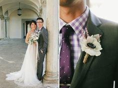 groom's purple gingham check shirt with purple dot necktie and anemone boutonniere