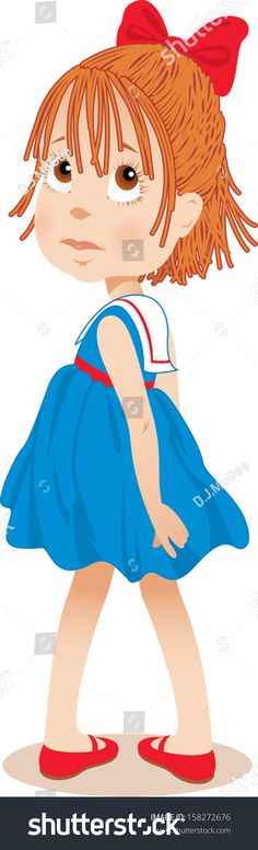 Little Girl in Blue Sailor Dress