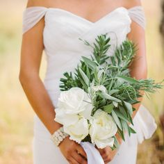White Rose and Herb Bridal Bouquet - traditionally a bride carried a bouquet of herbs to ward off evil spirits.