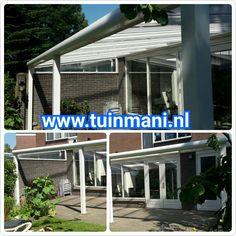 Veranda - terrasoverkapping, gemaakt van aluminium. Ronde gootkap, op maat gemaakte spie en heldere polycarbonaatplaten. Als opties: verlichting , glazen zijwand , zonnedoeken of schuifwand. Ook verkrijgbaar in hout ( geïmpregneerd of lariks ) Deze is geplaatst en verkrijgbaar bij tuinmani @Tuinmani #tuinmani www.tuinmani.nl