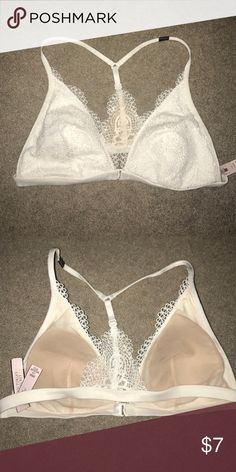 Victoria's Secret White Lace Bralette Brand new never worn bralette purchased from Victoria's secret a few months ago. I am a D Cup and this does not fit me Victoria's Secret Intimates & Sleepwear Bras